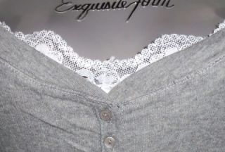 SEXY~GRAY~white~LACE~lacy~THERMAL~layered~HENLEY~punk~GOTH~t shirt~TOP