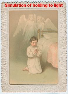 Victorian Hold to Light 2 sided Chromolithographed Christmas Card