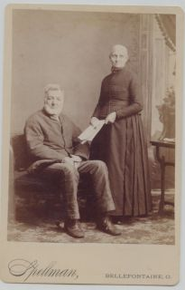 Cabinet Photo Bellefontaine Ohio Man Lady w Paper