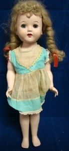 Plastic 5 Jointed 17 Walking Doll Sleepy Eyes Blonde Braids Betty Lou
