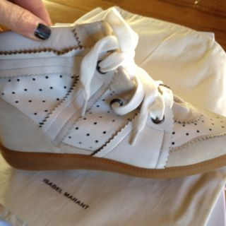 Isabel Marant Betty White Leather Wedge Sneakers Sz 40 US 9 SOLDOUT