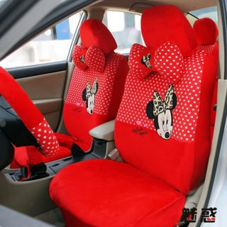 Minnie Mouse Plush Auto Car Front Rear Seat Cover 18pc