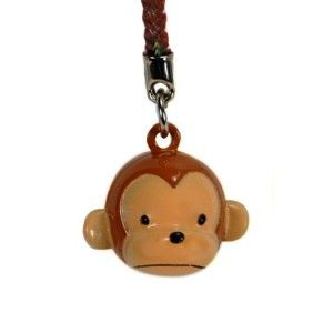 Monkey Head Bell Charm Cell Mobile Phone Strap Brass