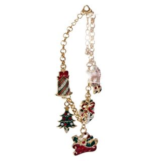 Christmas Jewelry Santa Claus Tree Bell Charms Link Gold Tone Crystal