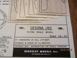 Berkeley 32 7 8 Cessna 140 Model Airplane Kit Plan Plus Printwood