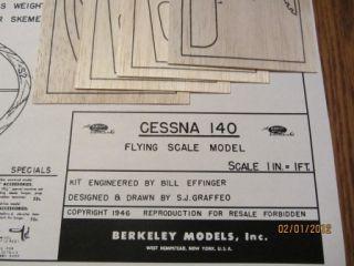 Berkeley 32 7 8 Cessna 140 Model Airplane Kit Plan Plus Printwood