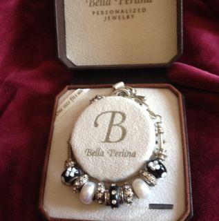 Bella Perlina European Charm Bracelet Black and White