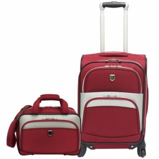 beverly hills country club 2 piece carry on spinner luggage set red