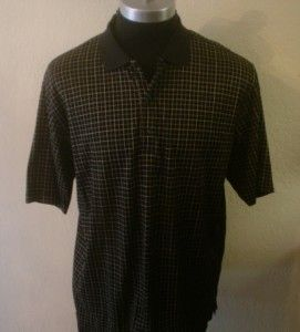 New Mens Black Striped Bobby Jones Players Polo Golf Shirt L Large