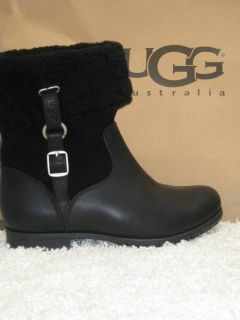 UGG Bellvue III Black Leather Fold Over Boot Women 7 Retail $250