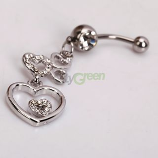 Barbells Navel Belly Button Ring Clear Rhinestone Body Piercing Jewel