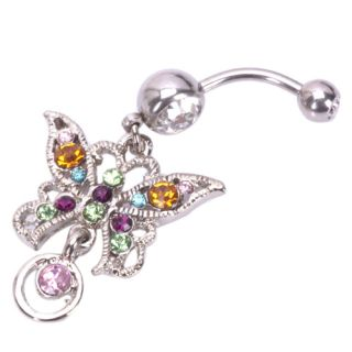 Butterfly Circle Navel Belly Button Ring Body Jewelry