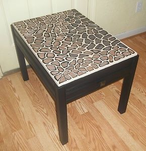 GIRAFFE ANIMAL PRINT SIDE TABLE NIGHT STAND p u Belvidere illinois