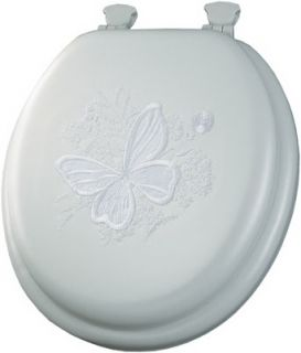 Bemis Mayfair White Round Soft Molded Wood Core Butterfly Toilet Seat