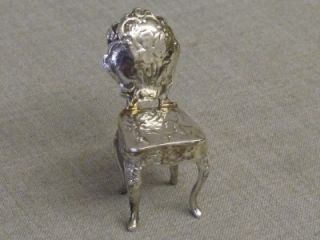 Antique Solid Silver Berthold Muller Miniature Chair Chester 1901