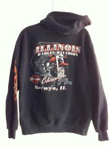 Davidson Skull Flames Chicago Berwyn IL Motorcycle Hooded Jacket Black
