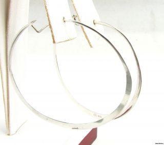 Large Hoop Earrings Sterling Silver Pierced Fashion 2 925 Flat Design