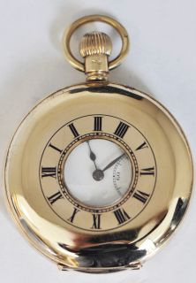 Benson 9K Solid Gold Demi Hunters Case Pocket Watch 15 Jewel Swiss