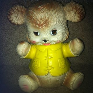 VINTAGE 1962 Teddy Bear Rubber SQUEEKY TOY EDWARD MOSLEY CO 10 INCHES