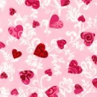 Kaufman, Love, HEARTS on PINK, Amy Biggers, Valentine Red White Scroll