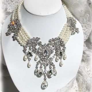 OOAK Bridal Statement Ivory Pearl Swarovski Rhinestone Necklace