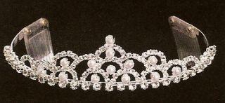 Wedding Bridal Silver Tiara with Rhinestones Pearls