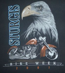 HARLEY DAVIDSON 2001 STURGIS BIKE WEEK T SHIRT   BLACK SIZE XXL   100%