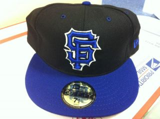 New Era San Francisco Giants 59Fifty Black Blue White Fitted Hat Brand