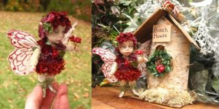 Berri OOAK Fairy w Birch House Fairies Art Doll Sculpture 3 75