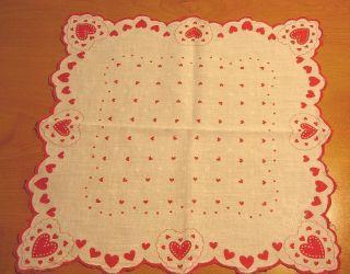 Vintage Ladies Valentines Handkerchief All Over Red Hearts
