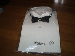 Wychwood Company White Tuxedo Shirt with Black Tie Size Medium NEW in