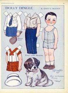St Bernard Puppy Dog Dolly Dingle Paper Dolls 1930 Grace Drayton