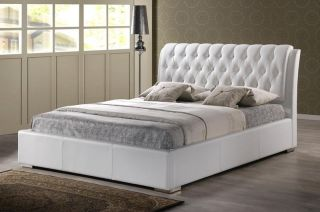 Modern White Faux Leather Queen or King Size Platform Bed Tufted