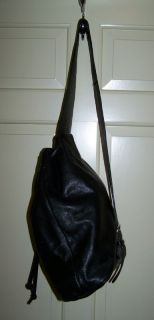 Vtg Genuine Black Glove Leather Tano Backpack Sling Bag Handbag Purse