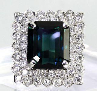 Quality 11 3ct Diamond Emerald Cut Green Tourmaline 14k White Gold
