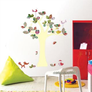 Reusable Animal Tree Wall Stickers Nursery Girls Childrens Room Art