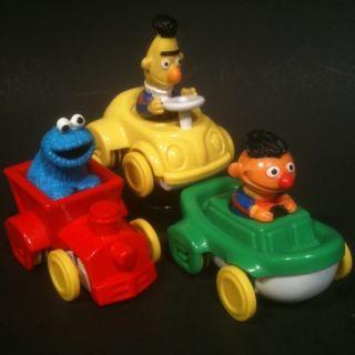 Illco lot of 3 Sesame Street Cars Bert Ernie Cookie Monster Toy Figure