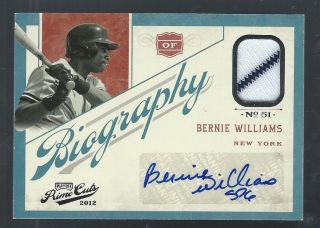 BERNIE WILLIAMS 2012 PANINI PRIME CUTS BIOGRAPHY AUTO JERSEY YANKEES