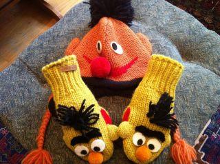 Sesame Street Ernie Pilot Kids Hat w Bert Mittens Handmade