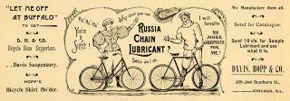 1896 Ad Russia Bike Chain Lubricant Davis Hopp Bicycle Hose Cycling