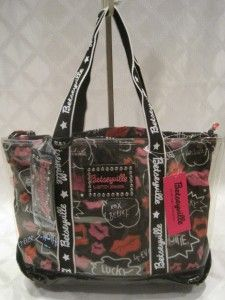 Betsey Johnson Black Multi Friskie Lips Clear Tote with Insert