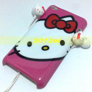 Hello Kitty Earphone Hard Case for iPod Touch 4 4th Gen Button Sticker