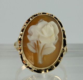 Antique Hand Carved Rose Shell Cameo Ring 14k Rose Gold