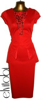 New Sexy Red Lace Trim 40s Vintage Style Peplum Pencil Wiggle Dress 8