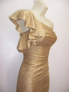 Betsy Adams Gold Ruched Stretch Ruffled One Shoulder Cocktail Party