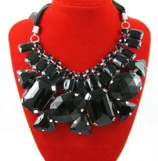 BRAND NEW black Big rhinestone Acrylic women ribbon Bib Statement