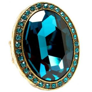 Big Teal Oval Stretch Ring Cocktail Crystal Glass Burnished Gold Tone