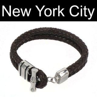 Bolo Leather Bracelet Wristband Cuff Stainless Steel Lock B0023BRN