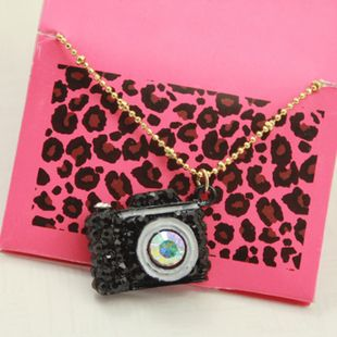 Betsey Johnson Black Camera Pendants Necklaces
