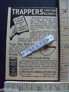 Paper Ad Trapper Supplies LINCOLN Hide & Fur Co Animal Bait / Traps